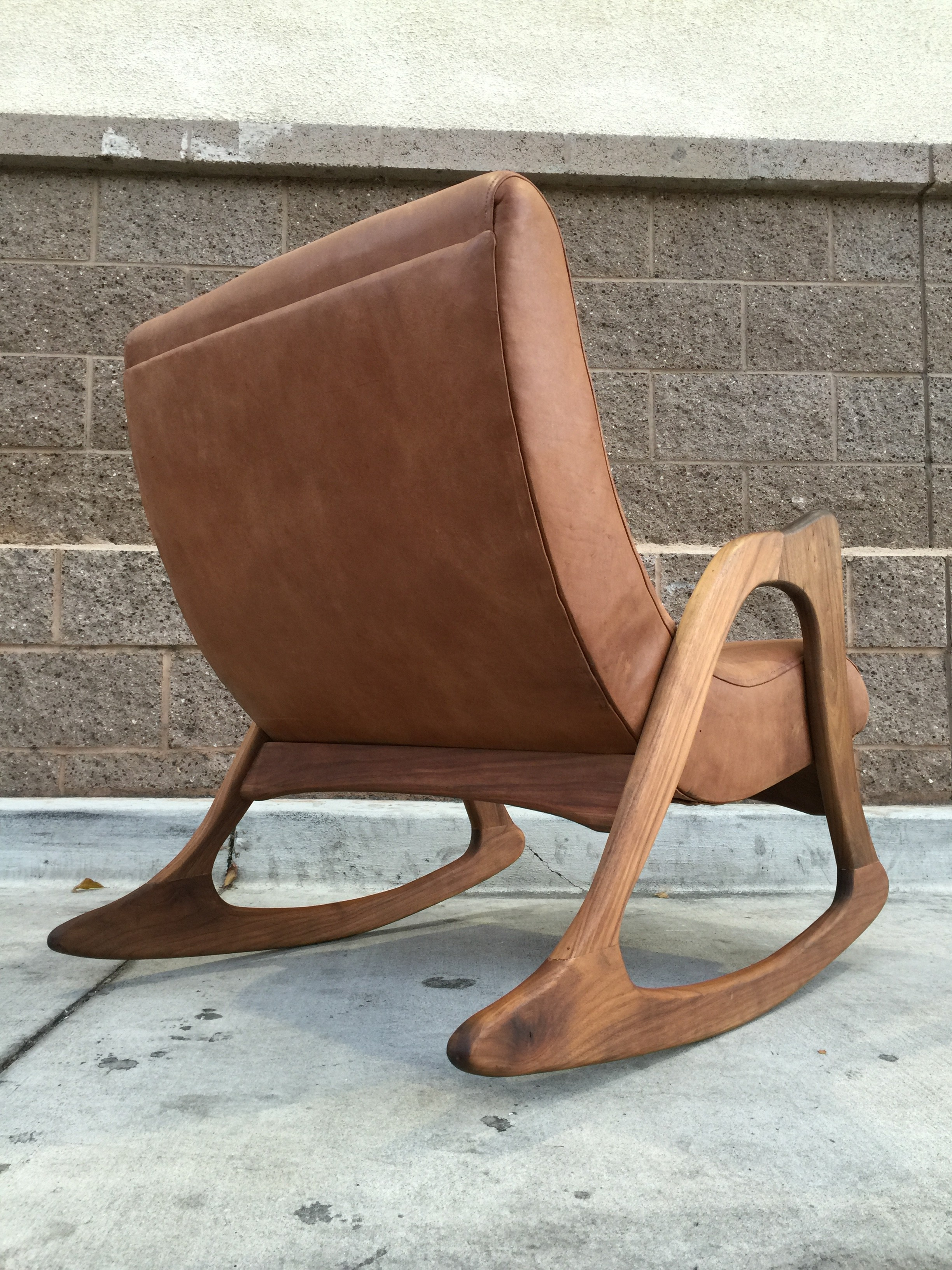 MID CENTURY LEATHER ROCKING CHAIR