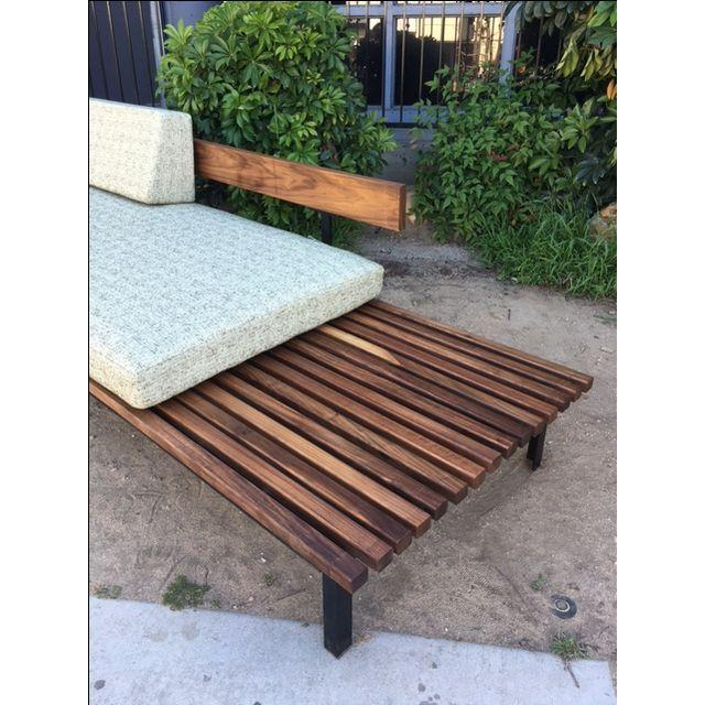 Mid Century Daybed Sofa W Built In Side Table