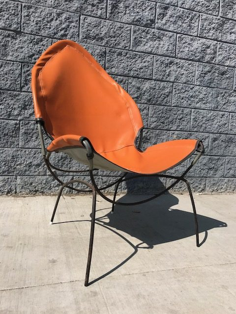 VINTAGE ROD IRON AND LEATHER SLING CHAIR BY TONY PAUL