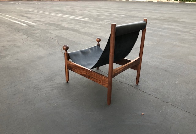 CUSTOM BRAZILIAN STYLE ALNUT AND LEATHER SLING CHAIR (EACH)